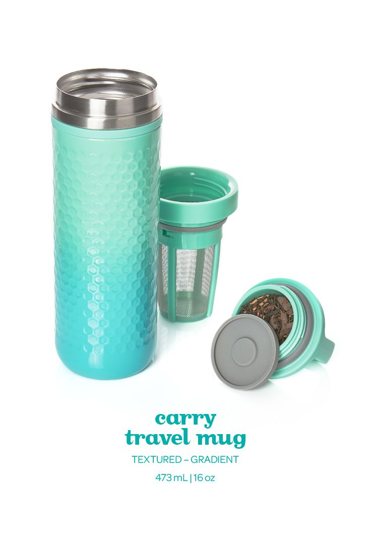 This ombre-textured travel mug in serene aquamarine keeps your tea piping hot for hours.