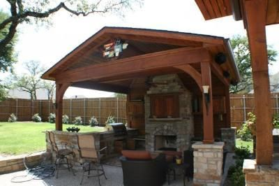 Outdoor fireplaces and patios covered patio with outdoor for Summer kitchen plans