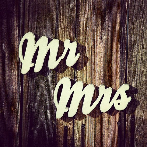 We made these MR and MRS Handmade Wood Signs for