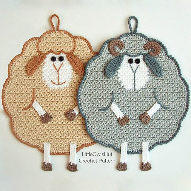 Ravelry: 065 Mr and Mrs Sheep potholder pattern by LittleOwlsHut