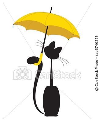 Vetor - gato, guarda-chuva - estoque de ilustração, ilustrações royalty free, banco de ícone clip arte, banco de ícones clip arte, fotos EPS, fotos, gráfico, gráficos, desenho, desenhos, imagem vetorial, arte vetor EPS.