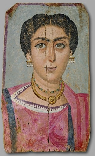 Mummy Portrait of a woman with necklace, er Rubayat, AD 170-190 (Wien, Kunsthistorisches Museum)
