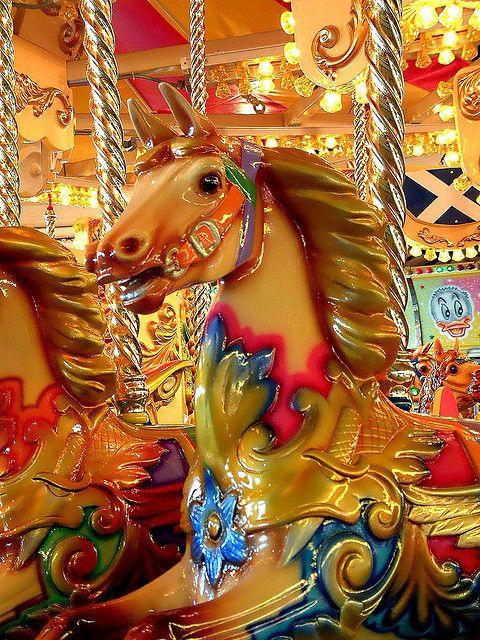 A carousel horse at Walton on Naze, Essex, England