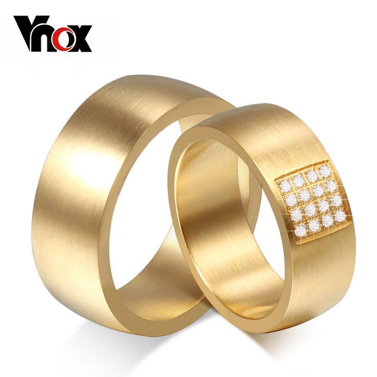 Vnox 8mm anelli di cerimonia nuziale per le donne degli uomini dell'acciaio inossidabile 316l oro-colore promessa gioielli dito