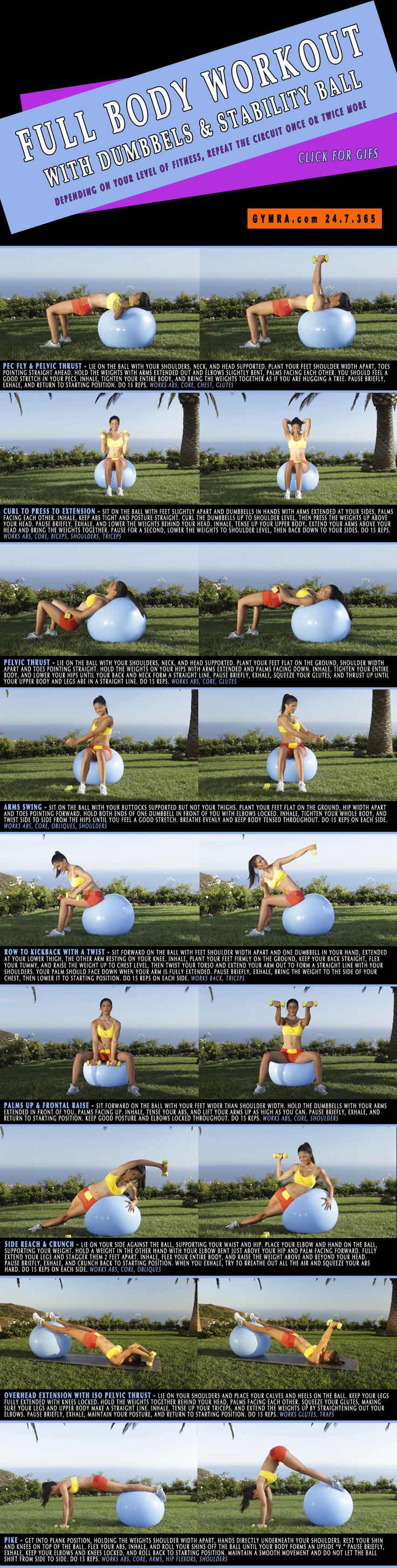Full Body #Workout. A stability ball engages all your #muscles and builds strength while improving stability. Try Gymra free for 30 days - no credit card required!