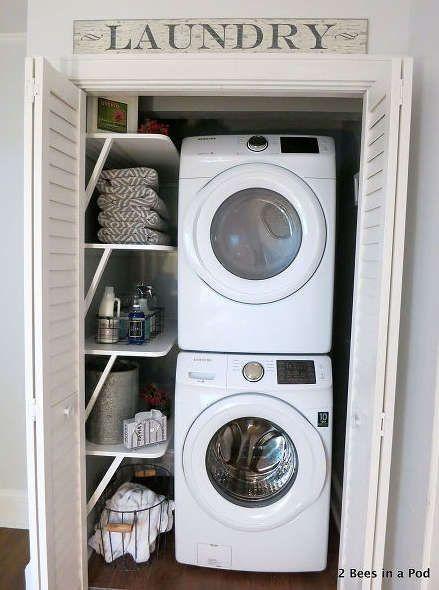 salle de lavage placard, aménager un placard salle de lavage,