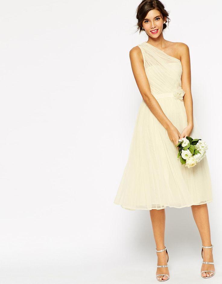 Bild 3 von ASOS TALL – WEDDING – One Shoulder-Corsagenkleid aus Netzstoff