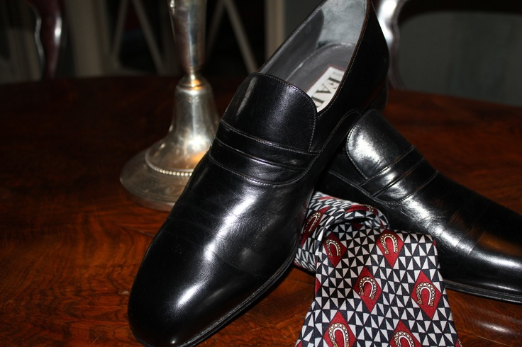 Super elegant evening shoes and YSL silk tie. Liberty Russian candlestick