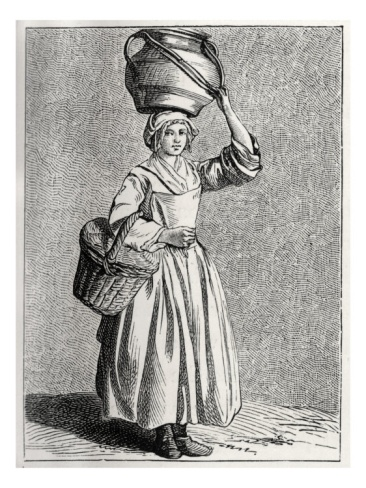 a milkmaid in 18th century Paris, France, William Hole