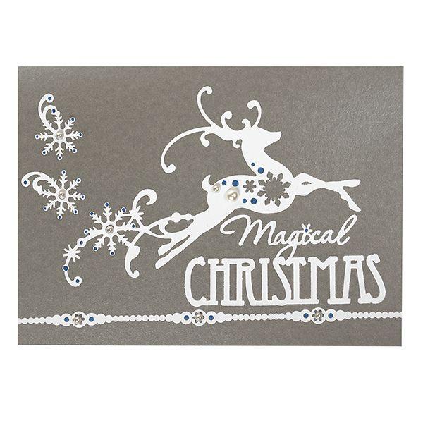 Valkoisten koristeellisten porotarrojen avulla saat helposti kauniita kortteja!
