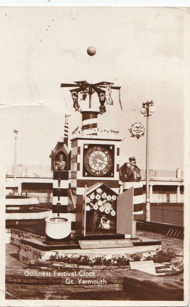 The Guinness clock moved to Great Yarmouth when the Pleasure Gardens closed