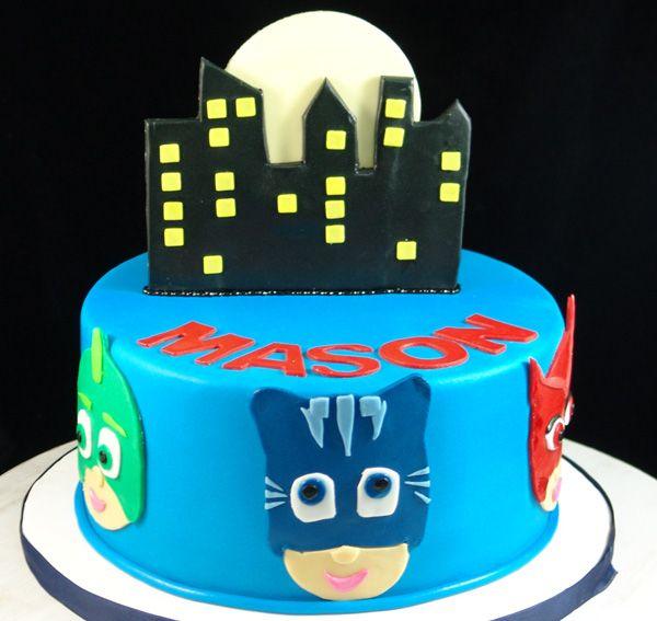 Birthday Cake with PJ Masks theme.