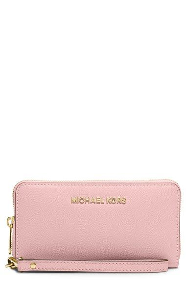 MICHAEL Michael Kors 'Large Jet Set' Saffiano Leather Phone Wristlet | Nordstrom