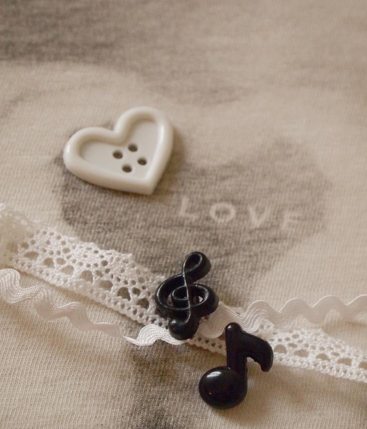 boutons coeur, note de musique Mariage noir et blanc | Mercerie Créative - Couture Facile I Paritys