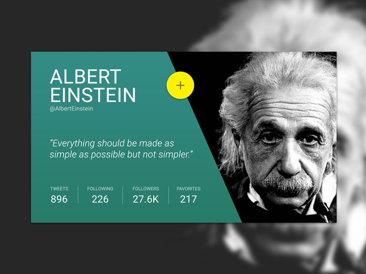 Profile Card – Albert Einstein – User interface by Jessica Meurer