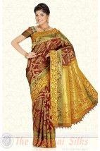 Pure Jari Contrast Brocade Bridal Silk Saree PSS202 http://www.shopcost.in/bridal+silk+saree
