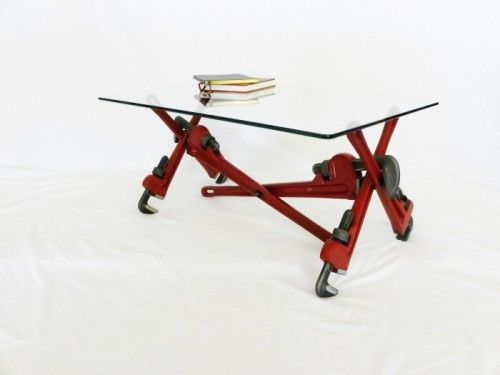 Coffee Table Made of Pipe Wrenches and Glass | Shelterness