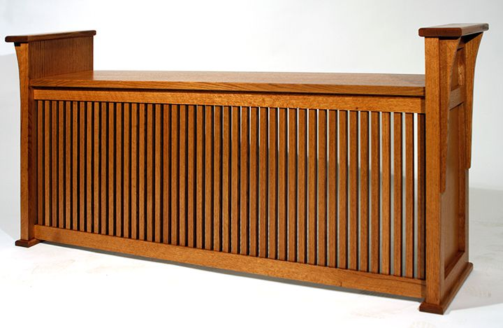 Bench-style Radiator Enclosure     A bench-style radiator enclosure that works well as a window seat: a cozy place to perch on a cold winter's day!