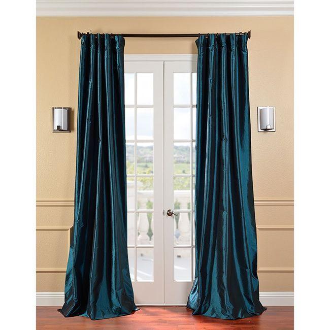 Exclusive Fabrics Solid Faux Silk Taffeta Mediterranean Curtain Panel 120 Inch Blue