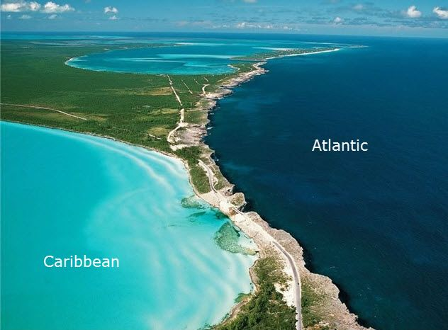 This is where the Atlantic Ocean and The Caribbean Sea meet. Eleuthera is an island in the Bahamas, lying 50 miles east of Nassau.