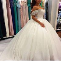 Sheer 2016 Элегантный свадебные платья novia Бальное Свадебное платье robe de mariage Бисера Белый Женщины Длинные свадебные платья 2016