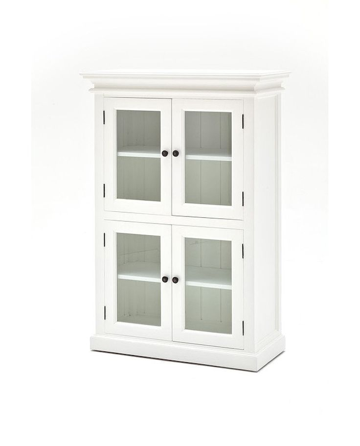Create a shabby chic or vintage look in your home with this 4 Door Pantry, finished in white distressed mahogany adds classic charm. Ample space allows you to t