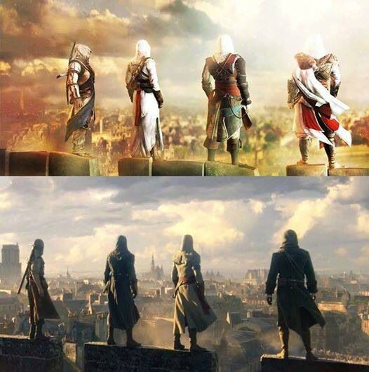 """Assassin's Creed: Unity [[Excuse me while I have feels. Does this mean that the four """"new"""" Assassins will also represent the four previous Assassins??? Top: Connor, Altair, Edward, and Ezio.]]"""
