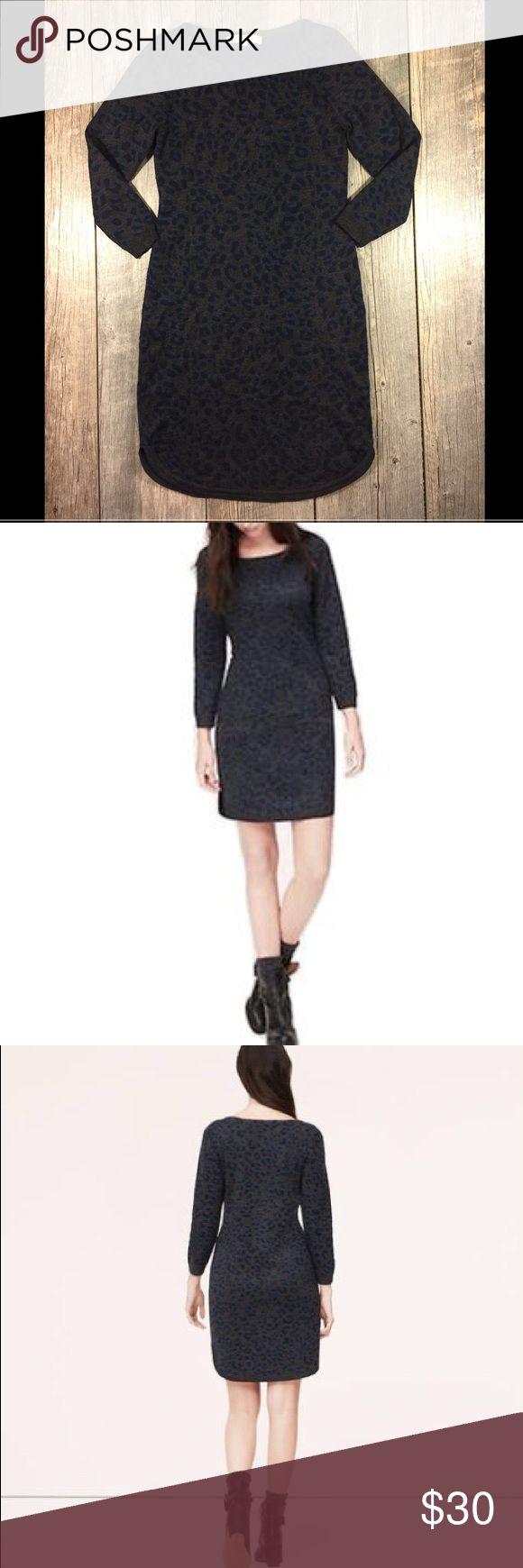 Loft gray blue leopard sweater dress Loft gray blue leopard sweater dress. No zipper. Approx 35.5 inches long. Bust is approx 32 inches. Waist is approx 28 inches. Acrylic polyester wool. Tag reads XSP, XS petite LOFT Dresses