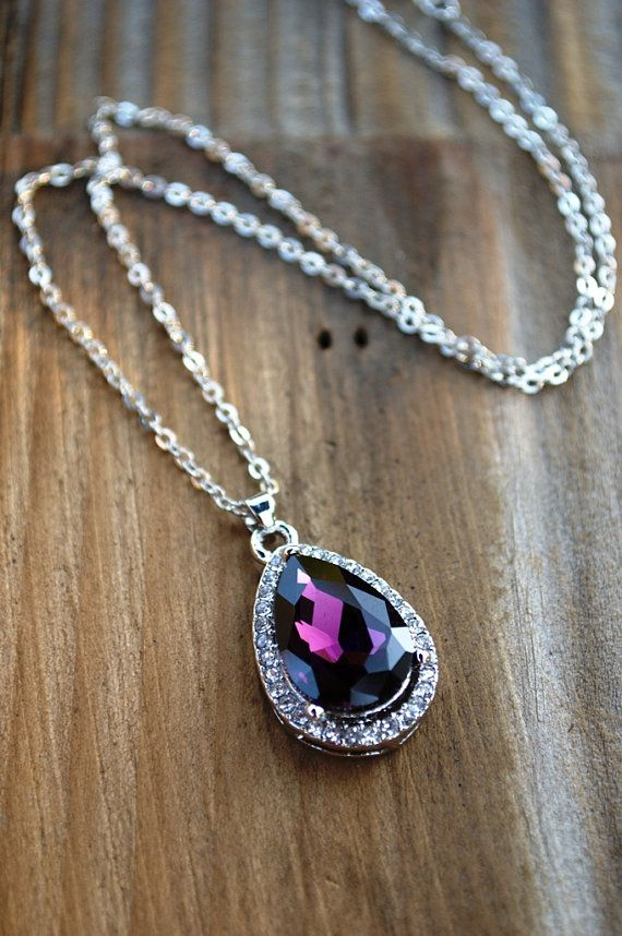 Sofia's Amuelet Necklace Purple Rhinestone by FishesGiveKisses