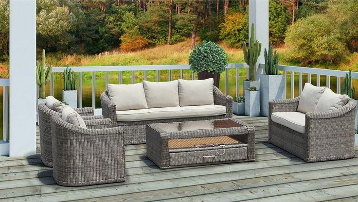 salon bas de jardin cap est r sine tress e gris salon de. Black Bedroom Furniture Sets. Home Design Ideas