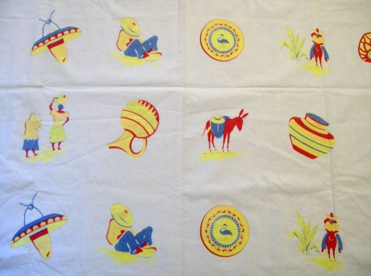 Vintage Southwestern Tablecloth, Southwestern Themed Tablecloth, 1950s Tablecloth, Red Yellow and Blue by VintagePlusCrafts on Etsy