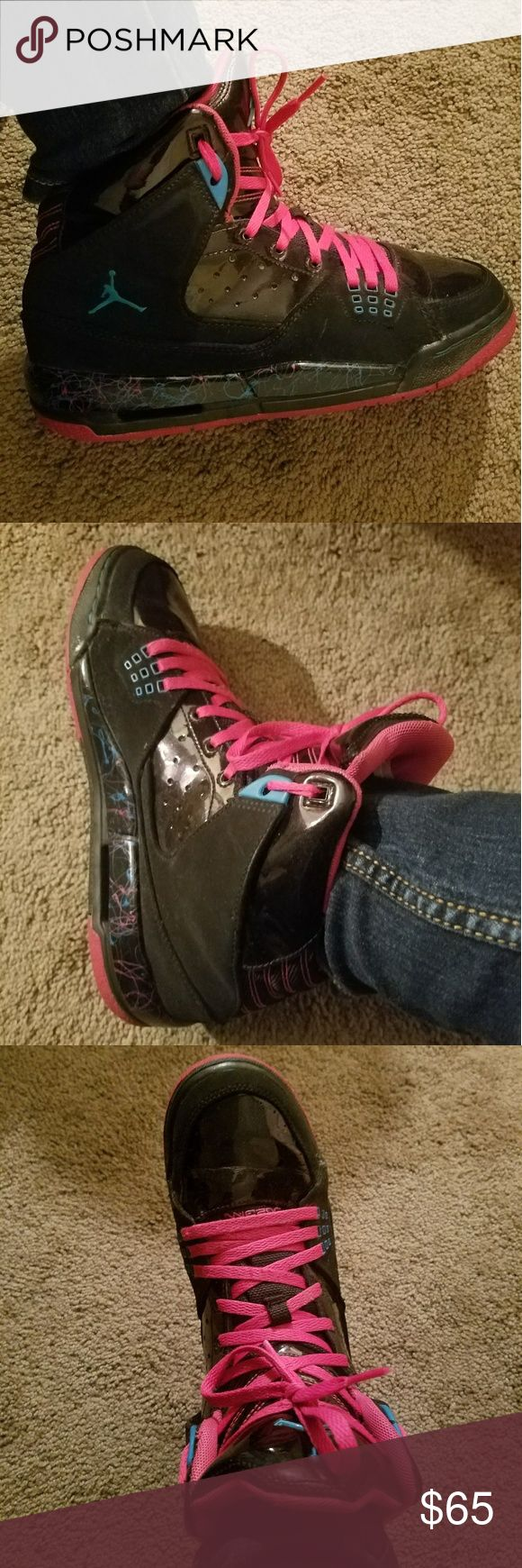 Size 7y pink and black jordans Great condition hot pink and black jordans unisex sneakers Shoes Sneakers