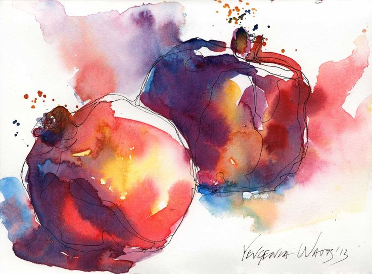 Pomegranates watercolor by Yevgenia Watts http://yevgeniawatts.com