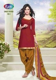 Maroon Color Beautiful Cotton Fabric Unstitched Straight Suit With Gota Patti Work