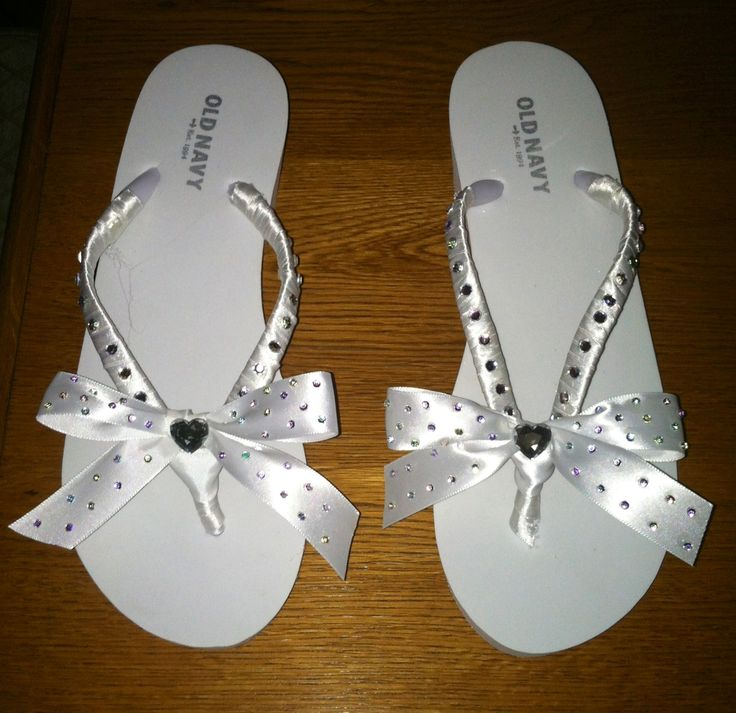 Do it yourself Wedding Flip Flops White wedge flip flops - $7.00 Old Navy Iridescent Rhinestones - $3.00 Michael's Crafts Well worth the work!