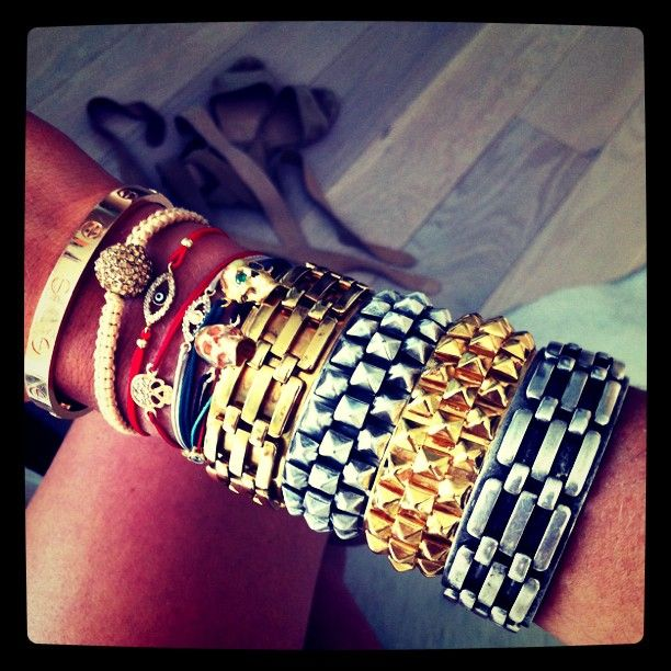"""""""arm party"""" :) (nearly bought a blingy evil eye last week!) memories of my friend, catherine, who had a party up to both elbows and on every finger. all. the. time."""