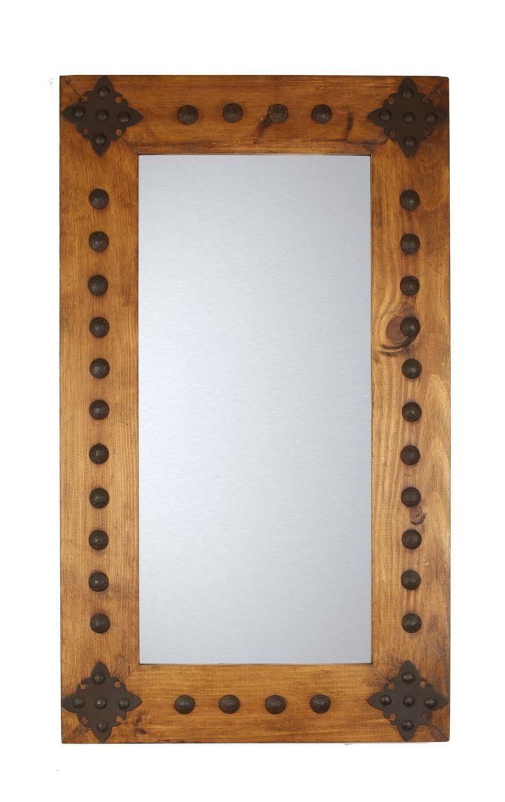 Santa Cruz  Rustic Mirror-Wood-Mexican-20x28-Rustic-Western-Cowboy-Clavos-Medallions-Primitive-Natural by RanchoAdobe on Etsy