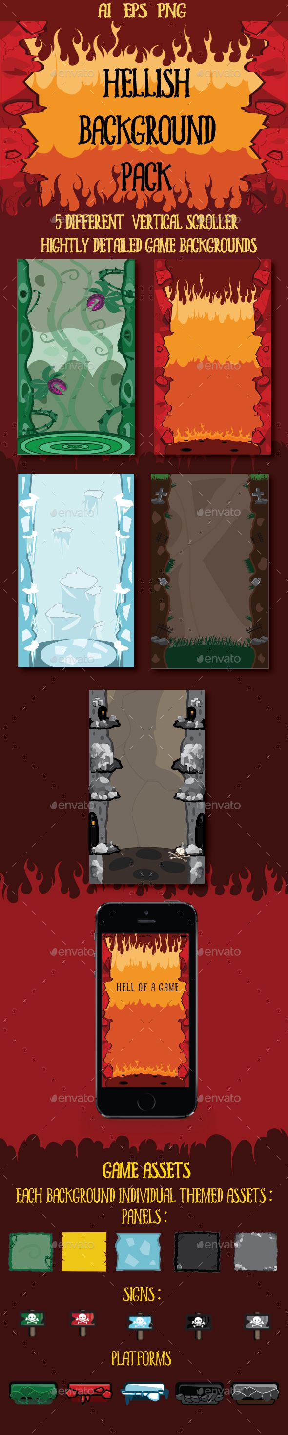 Hellish Game Backgrounds,background, blue, cartoon, cemetery, death, demon, fire, flames, frost, frozen, game, green, grey, hell, hellfire, hellish, horror, ice, jungle, mine, parallax, plants, platform, red, rocks, scary, scroll, scroller, sign, vertical