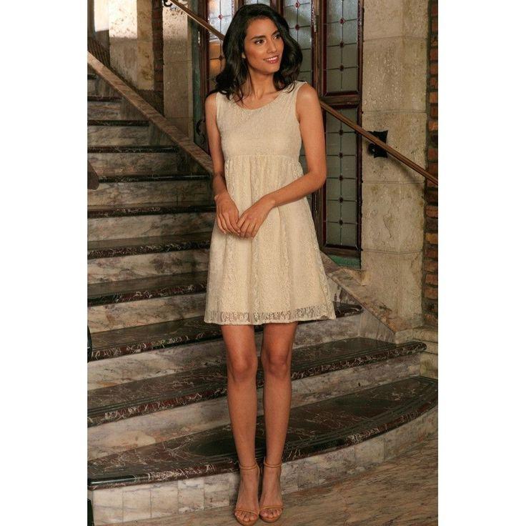 Beige Stretchy Lace Empire Waist Sleeveless Cute Spring Dress - Women