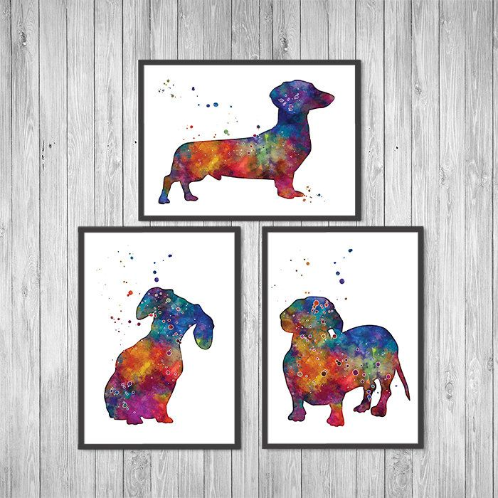 Dachshund Art Set Of 3 Watercolor Prints Home Decor Wall Art Etsy Dachshund Art Etsy Wall Art Home Decor Wall Art