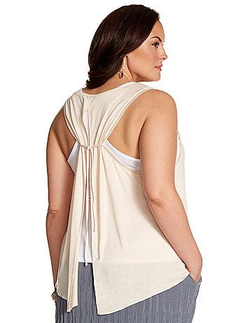 Lane Collection's layered tank lends of touch of luxury to your everyday look with a decadently-soft knit and dramatic tie-back silhouette. #LaneBryant