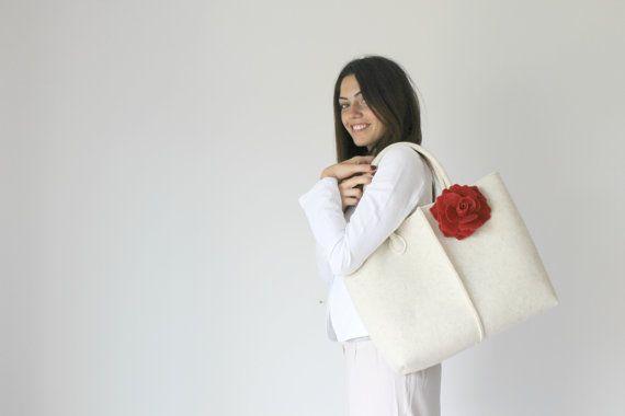 Borsa Tote in pelle borsa fatta a mano borsa di feltro