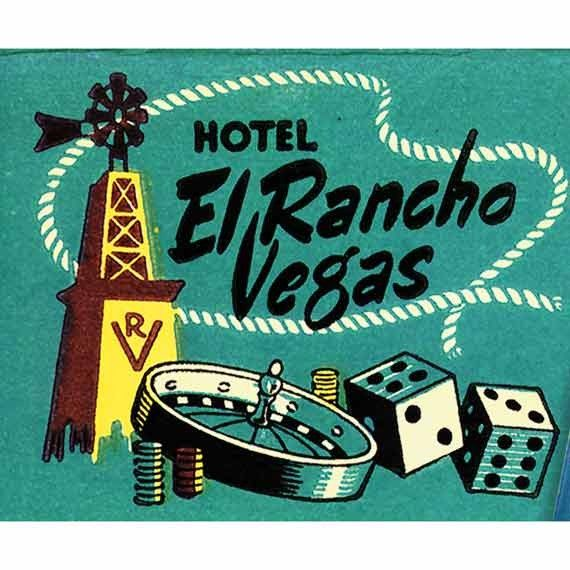 El Rancho Vegas Matchbook Print   Western Gambling Casino Gift For Gamblers Bar  Wall Decor Las