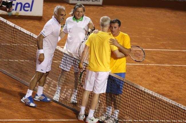 Mansour Bahrami, Ilie Nastase, John McEnroe, Andrei Pavel