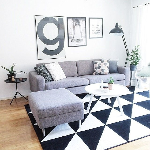 Interiorinspiration We Love The Geometric Print Of This Rug Contrasted With Plain Grey Furniture Apt In 2018 Pinterest Rugs Ikea And Living Room