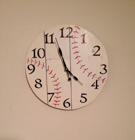 Check out this item in my Etsy shop https://www.etsy.com/listing/218426301/105-baseball-wall-clock-wood-clock