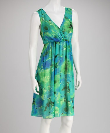 Take a look at this Green & Blue Floral Sleeveless Dress by Tacera on #zulily today!