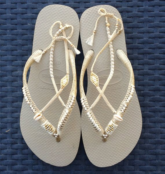 Bridal Flip Flops, wedding bridesmaid flip flops, Silver & Gold Flip Flop, Comfortable Wedding Sandals, Boho Shoe  Wedding Flip Flops based on Cream Havaianas - 100% Handmade.  You can decorate your hands, ears, neck but also … your feet!  These are an absolutely unique Must Have Flip Flops!!! The combination between style and comfortable at the same pair of sandals.  By decorating I used professional jewelry techniques and the highest quality materials varying from japanese beads, sterli...