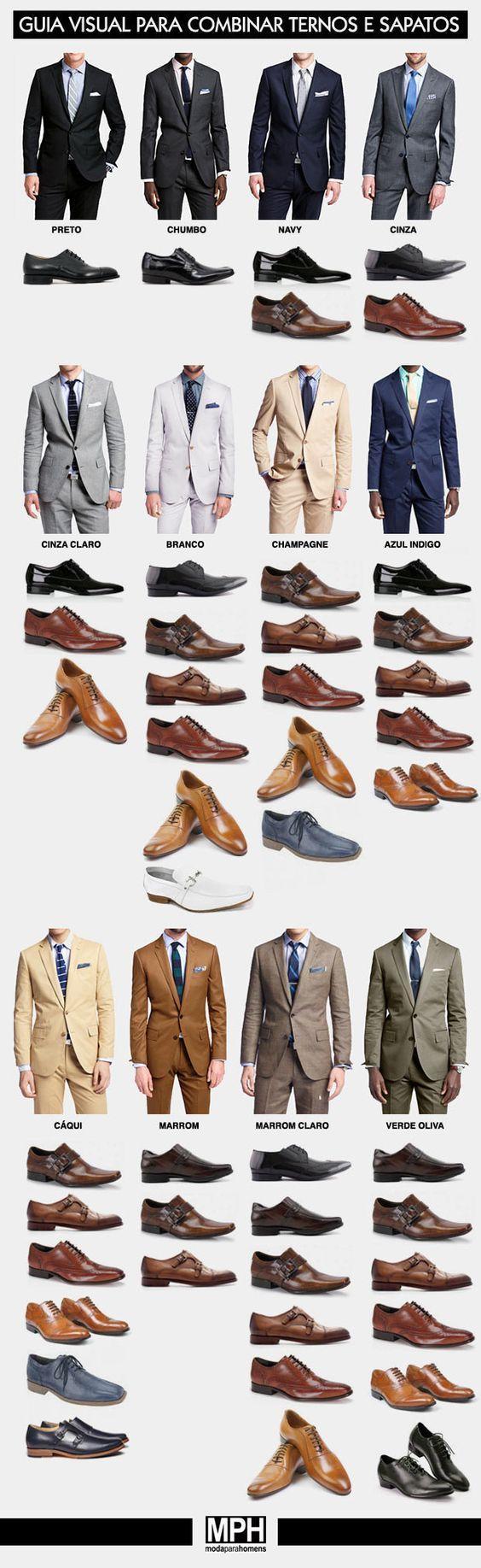 Aprender a como combinar tu traje y tus zapatos es la lección más importante que aprenderás en la vida. | 17 Guías visuales de estilo que todo hombre necesita en su vida:
