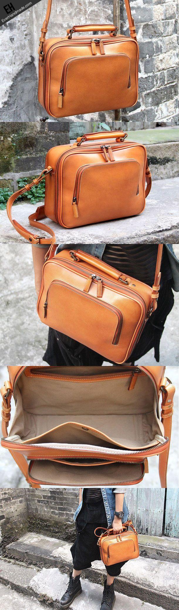 cool Handmade vintage satchel leather normal messenger bag orange shoulder bag handba...